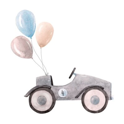 Póster Watercolor baby car illustration