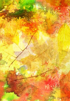 Póster Watercolor background with autumn leaves