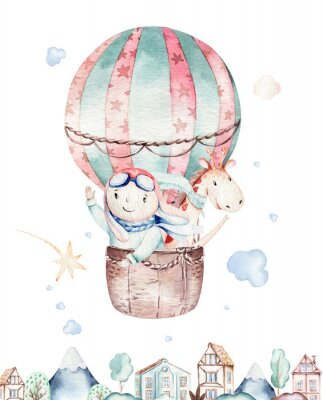 Póster Watercolor balloon set baby cartoon cute pilot aviation illustration. sky transport balloons with giraffe and elephant, koala, bear and bird, clouds. childish baby boy shower illustration