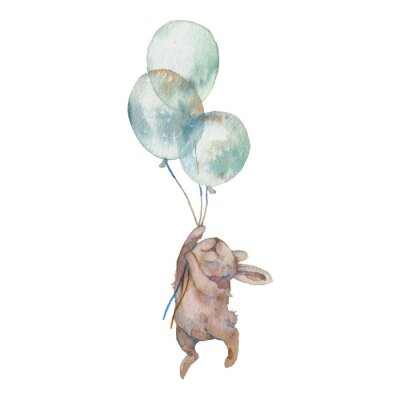 Póster Watercolor bunny with air balloons illustration. Hand painted rabbit fly. Cute animal isolated on white background. Cartoon hare in boho chic style