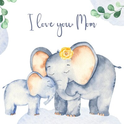 Póster Watercolor card with cute cartoon Mother's Day elephants