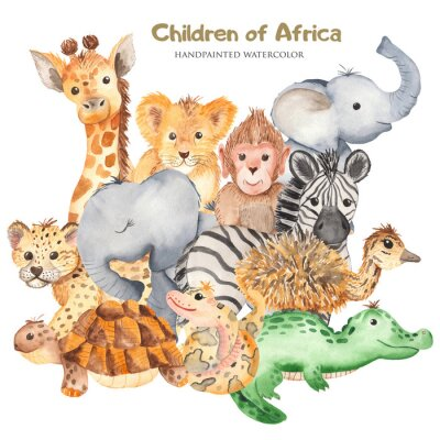 Póster Watercolor card with cute characters of African animals. Template for invitation, greeting card, party, baby shower, children's clothing and design.