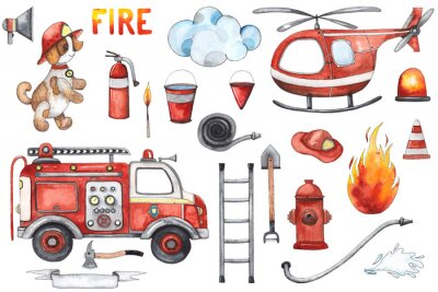 Póster Watercolor cartoon cute set Firefighting and fire safety equipment illustration. Fire truck, helicopter, dog, helmet, hose, column, fire extinguisher. Baby shower red colorful clip art