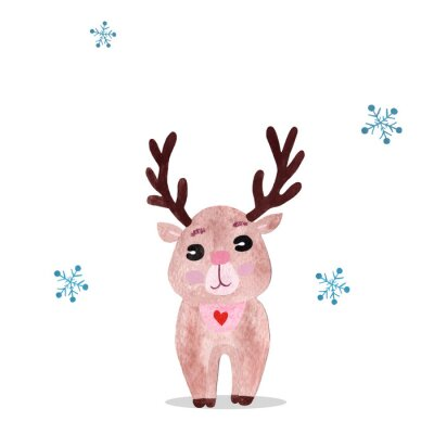 Póster Watercolor christmas illustration with holiday deer