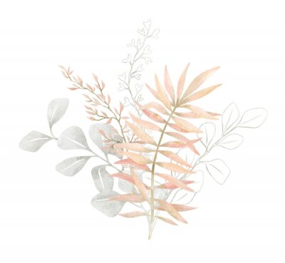Póster Watercolor composition with plants and leaves in pastel pink color. Aesthetic gently bouquet in boho style with palm leaf, eucalyptus, foliage, nature element. Illustration for wedding, business card.