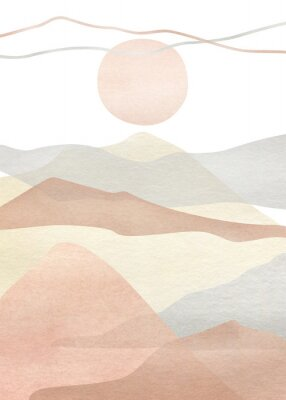 Póster Watercolor creative minimalist hand painted landscape composition, mountains. Abstract modern print, poster, for wall decoration, card or brochure cover design. Aesthetic trendy illustration