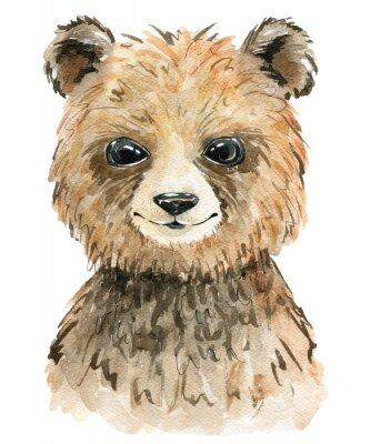 Póster Watercolor cute bear.