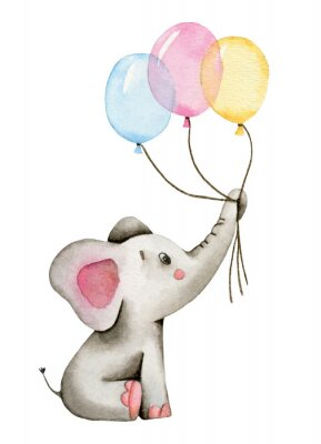 Póster Watercolor cute elephant holds the trunk of multi-colored balloons isolated on white background.