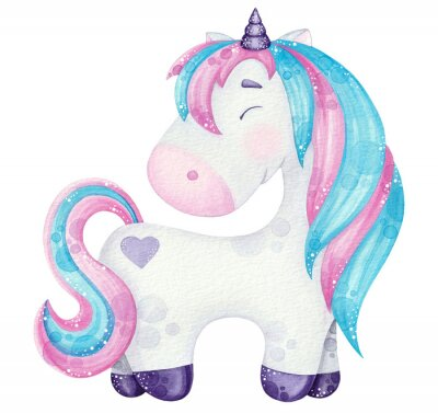 Póster watercolor cute Unicorn illustrations  pink and blue isolated on white