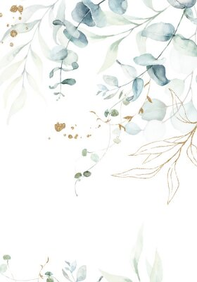 Póster Watercolor floral illustration with gold branches - green leaf frame / border, for wedding stationary, greetings, wallpapers, fashion, background. Eucalyptus, olive, green leaves, etc.