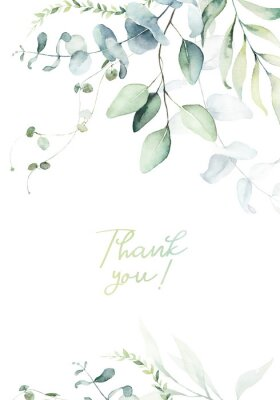 Póster Watercolor floral illustration with green branches & leaves - frame / border, for wedding stationary, greetings, wallpapers, fashion, background. Eucalyptus, olive, green leaves, etc.