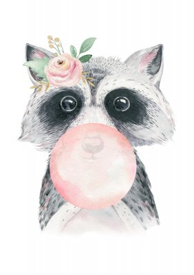 Póster Watercolor forest cartoon isolated cute baby raccoon, animal with flowers. Nursery woodland illustration. Bohemian boho drawing for nursery poster, pattern