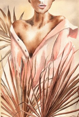 Póster Watercolor illustration.  Beautiful woman or girl in a shirt with dry palm leaves.  African American, African.  Design for cards, paper, weddings, invitations, scrapbooking, poster, invitations