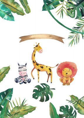 Póster Watercolor invitation with wild animals and jungle leaves. Children hand-drawn illustration
