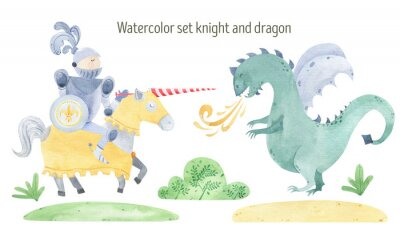 Póster Watercolor knight and dragon duel