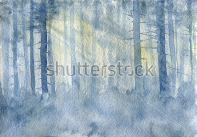 Póster watercolor landscape with mist and trees trunks, cobweb morning, fog in a forest, hand drawn illustration, nature background