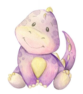Póster watercolor,  little dinosaur. pink. isolated