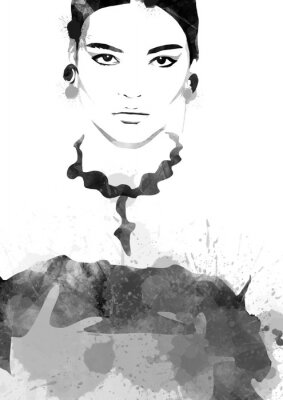 Póster Watercolor painting fashion woman black and white