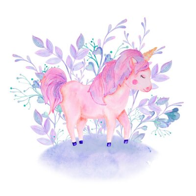 Póster watercolor pink, lilac unicorn composition with flowers