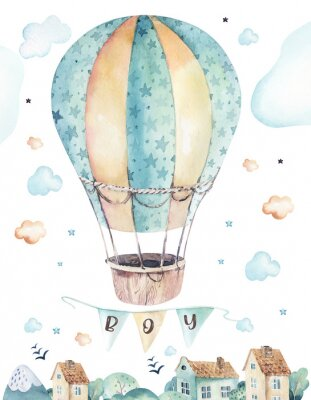 Póster Watercolor set background illustration of a cute cartoon and fancy sky scene complete with airplanes, helicopters, plane and balloons, clouds. Boy seamless pattern. It's a baby shower design