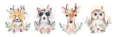 Póster Watercolor set of forest cartoon isolated cute baby fox, deer, raccoon and owl animal with flowers. Nursery woodland illustration. Bohemian boho drawing for nursery poster, pattern
