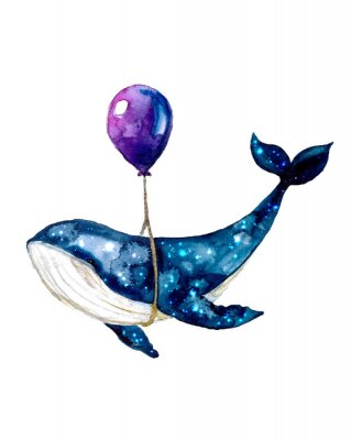 Póster Watercolor sketch blue whale. Illustration isolated on white background for design,print or background. cosmic texture with balloon. Night starry sky with paint strokes and swashes