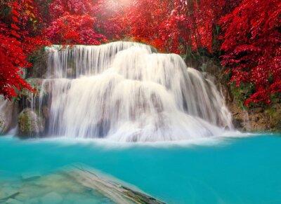 Póster Waterfall in deep rain forest jungle (Huay Mae Kamin Waterfall i
