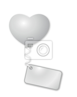 Weisser Herzballon mit Botschaft