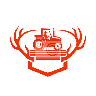 White Tail Deer Antler Tractor Retro