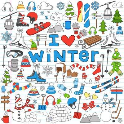 Póster Winter Fun Back to School Notebook Ilustración Vector Doodles-