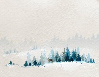 Póster winter landscape with fir forests and deer