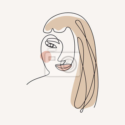 Póster Woman face continuous line drawing. One line . Hand-drawn minimalist illustration, vector.