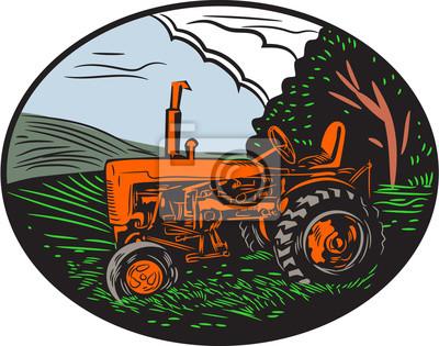 Woodcut de la granja del tractor del vintage