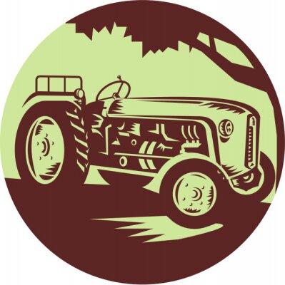 Woodcut del círculo del alimentador de la cosech