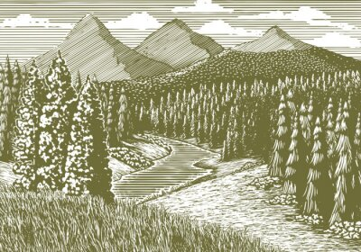 Póster Woodcut-estilo ilustración de un paisaje de montaña con un arroyo corriendo a través de él.