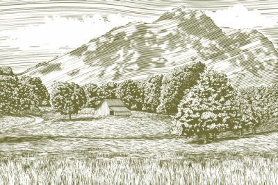 Póster Woodcut-estilo ilustración de una granja y granero con una montaña en el fondo.