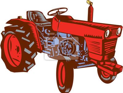 Woodcut lateral del tractor de la vendimia