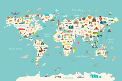 Póster World map vector illustration. Landmarks, sight and animals hand draw icon. World vector poster for children, cute illustrated. Travel concept card