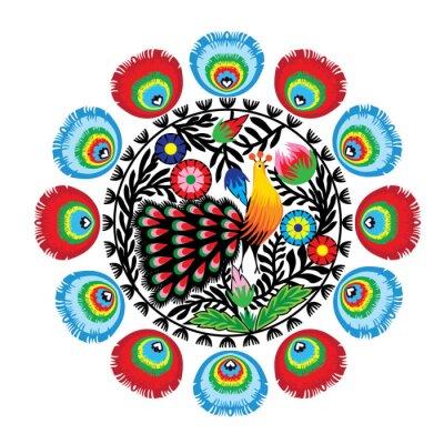 Póster wzór kwiatami z Ludowy i pawiem, Łowicki