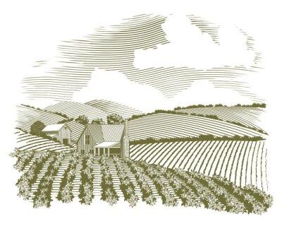 Póster Xilografía Rural Granja