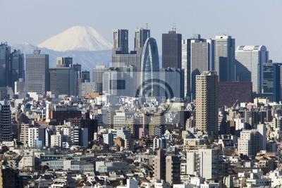 富士山 と 新宿 高層 ビル 街