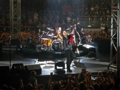 Póster Concierto de la banda â € œMetallicaâ €, Roma, 24 de junio de 2009. La banda.