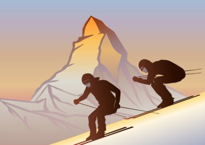 Póster Kayakcılar ve Matterhorn