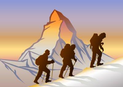 Póster Matterhorn ve Dağcılar