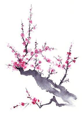 Póster 梅 水墨画