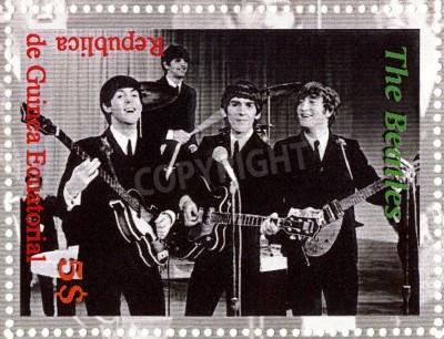 Póster REPÚBLICA DE GUINEA ECUTORIAL � alrededor de 2003: The Beatles - 1980 famoso grupo pop musical.