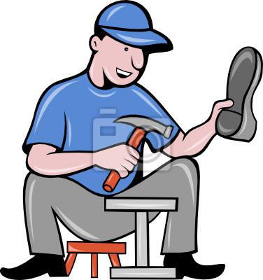 zapatero remendón de reparación de calzado que se sienta