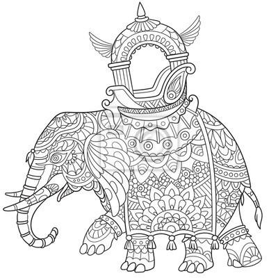 Zentangle elefante estilizado de dibujos animados, aislado sobre ...