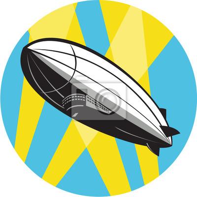 Zeppelin Blimp Flying Overhead Círculo Retro