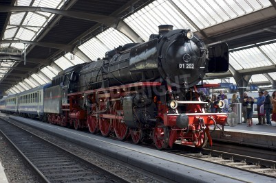 Póster Zurich, Suiza - 4 de junio de 2011: Un tren con una locomotora del Pacífico 01 202 reformado de vapor está listo para salir de la estación principal de Zurich (Hauptbahnhof).